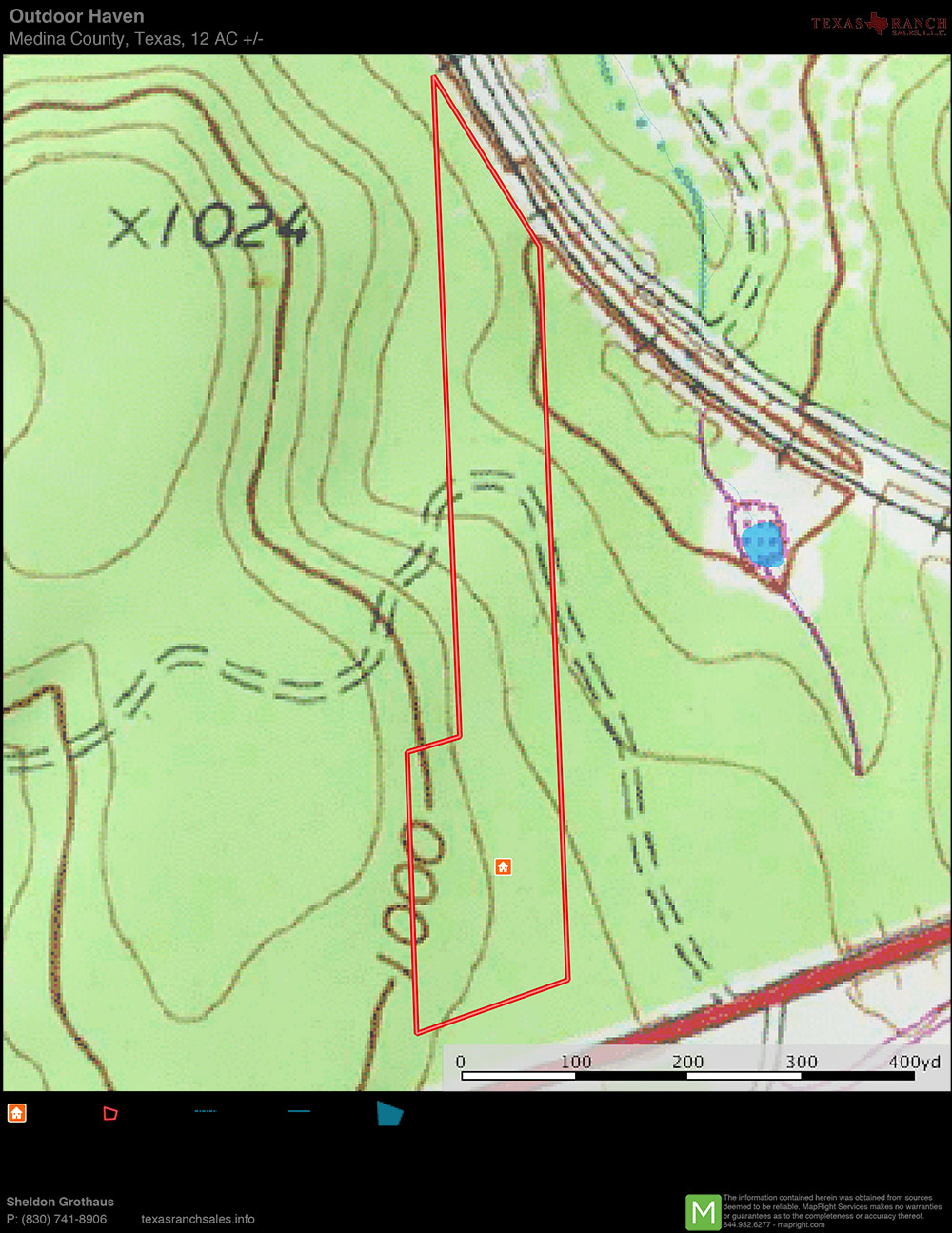 12 Acre Ranch Medina Topography Map