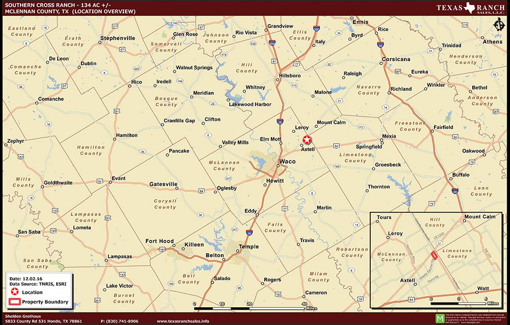 134 Acre Ranch McLennan Location Map Map