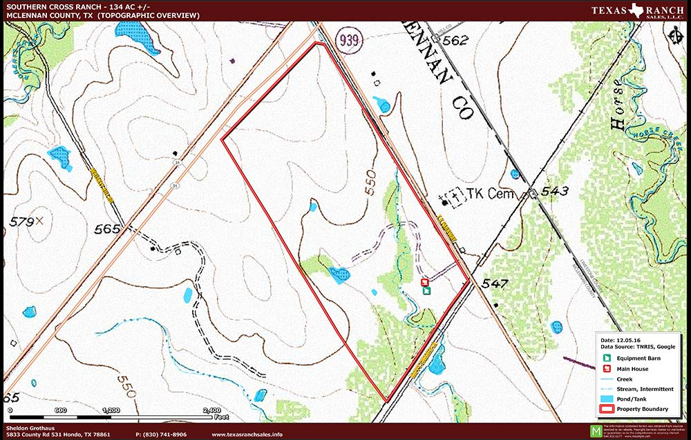 134 Acre Ranch McLennan Topography Map