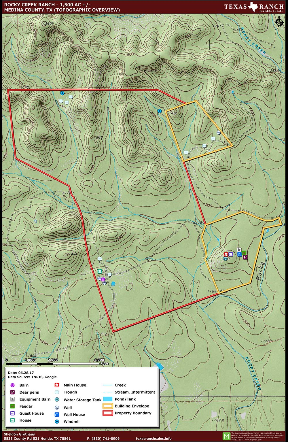 1354 Acre Ranch Medina Topography Map