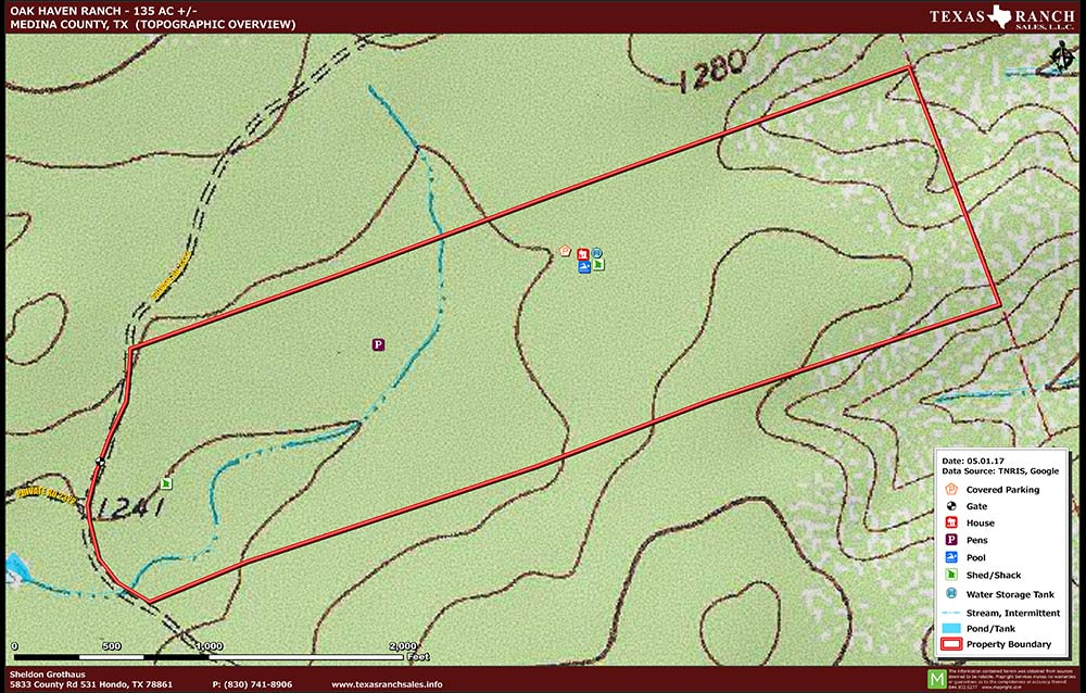 135 Acre Ranch Medina Topography Map
