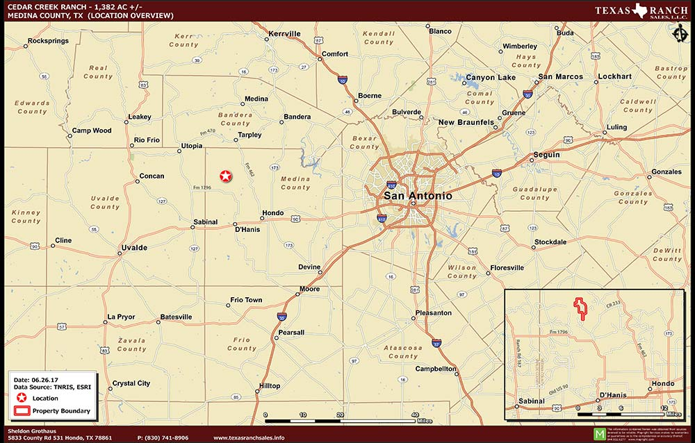 1382 Acre Ranch Medina Location Map Map