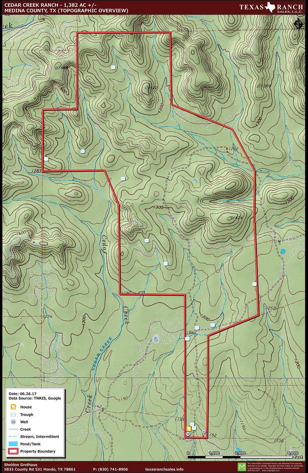 1382 Acre Ranch Medina Topography Map