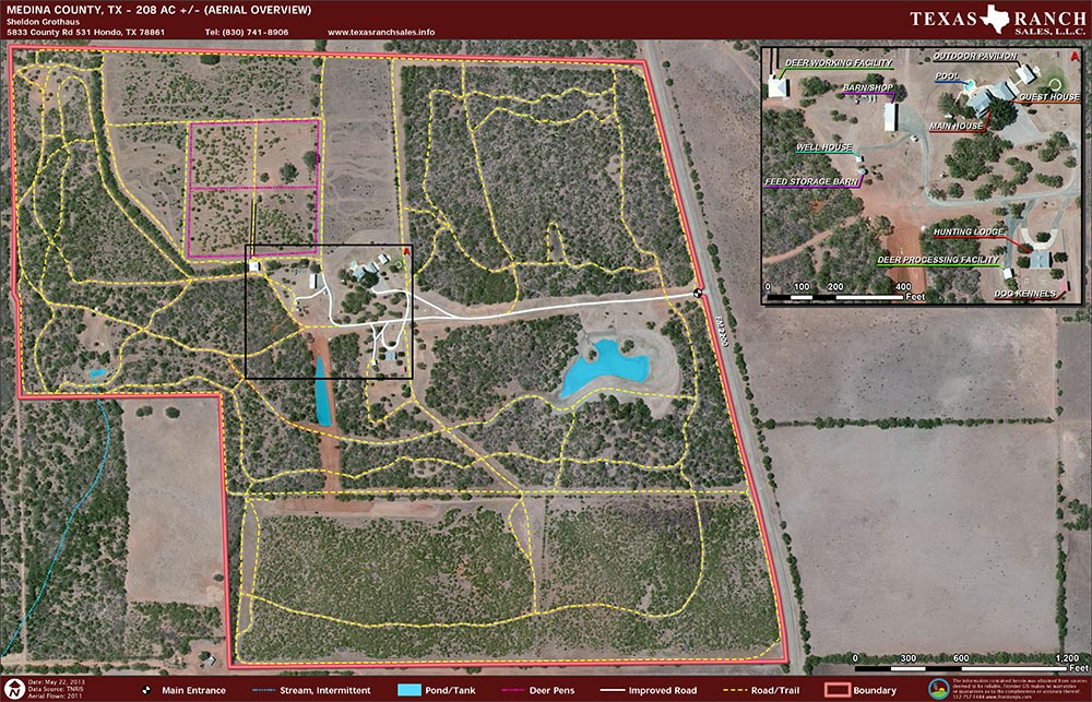 208 Acre Ranch Medina Aerial Map