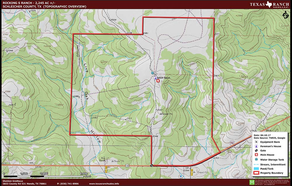 2245 Acre Ranch Schleicher Topography Map