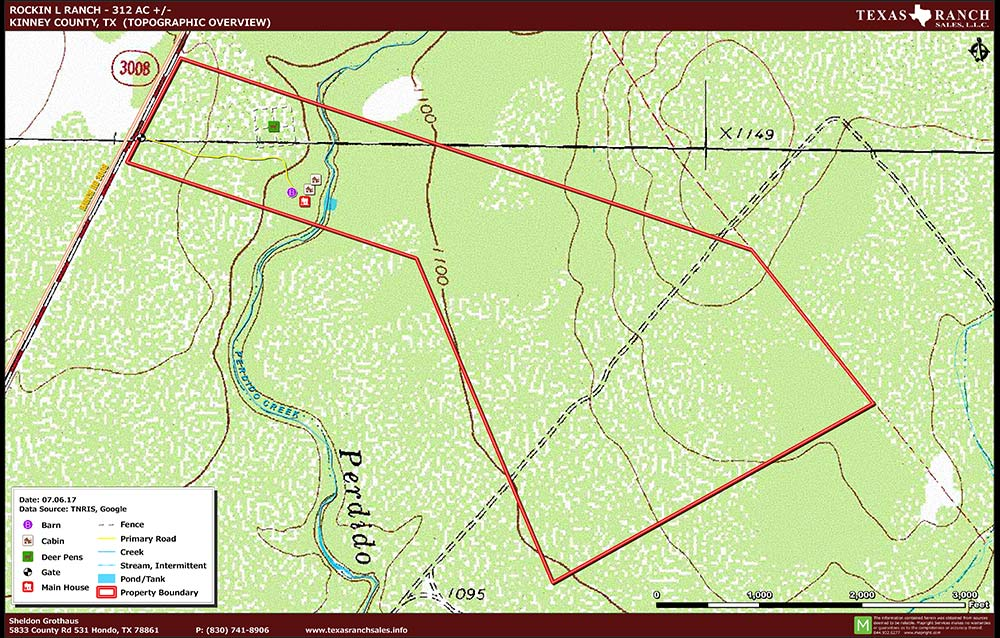 312 Acre Ranch Kinney Topography Map