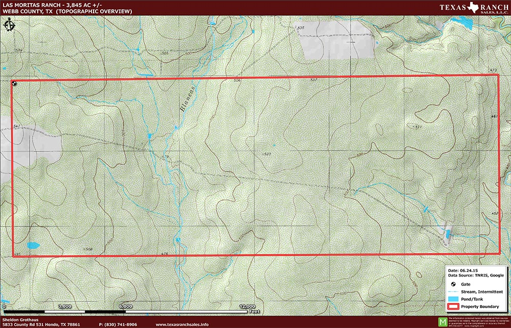 3845 Acre Ranch Webb Topography Map