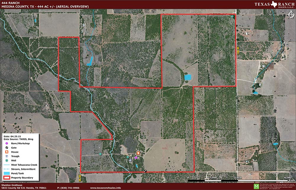 444 Acre Ranch Medina Aerial Map