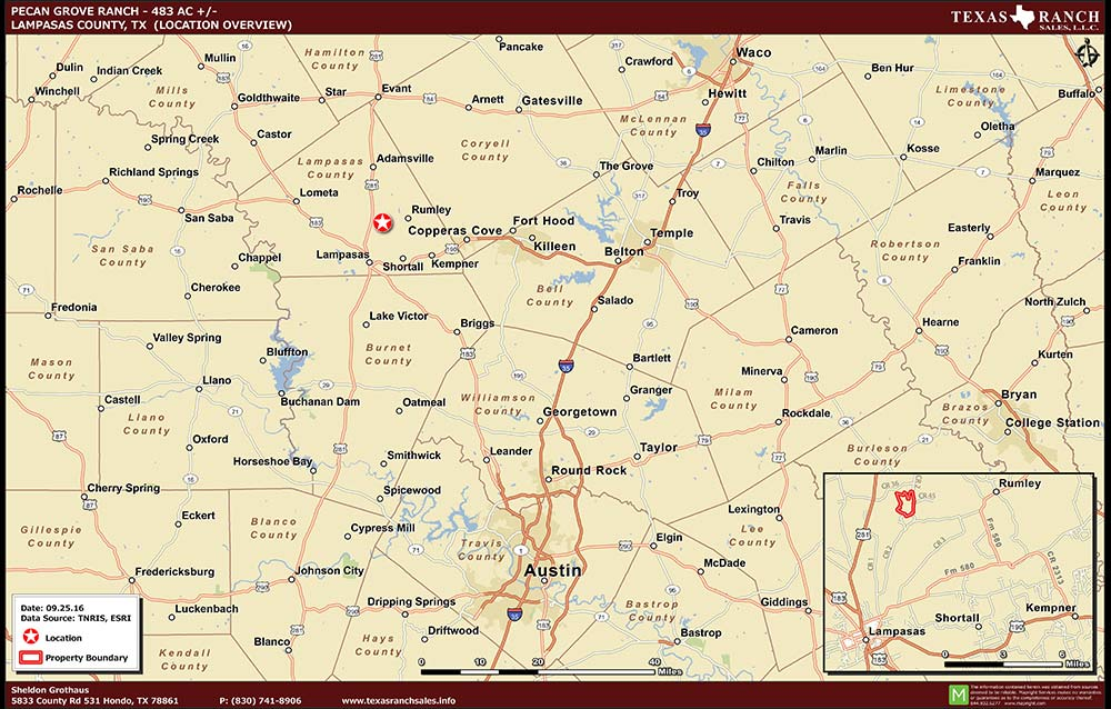 483 Acre Ranch Lampasas Location Map Map