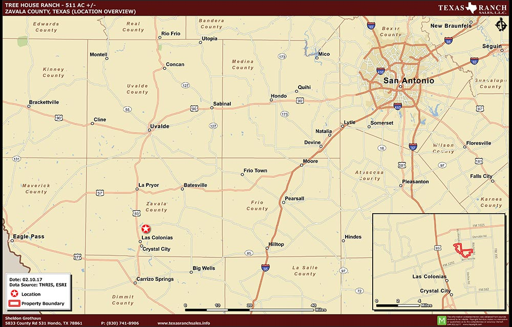 511 Acre Ranch Zavala Location Map Map