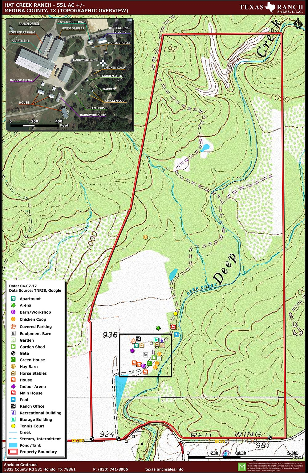 551 Acre Ranch Medina Topography Map