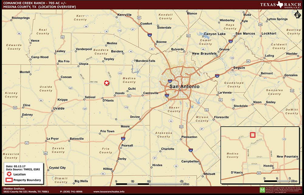 705 Acre Ranch Medina Location Map Map