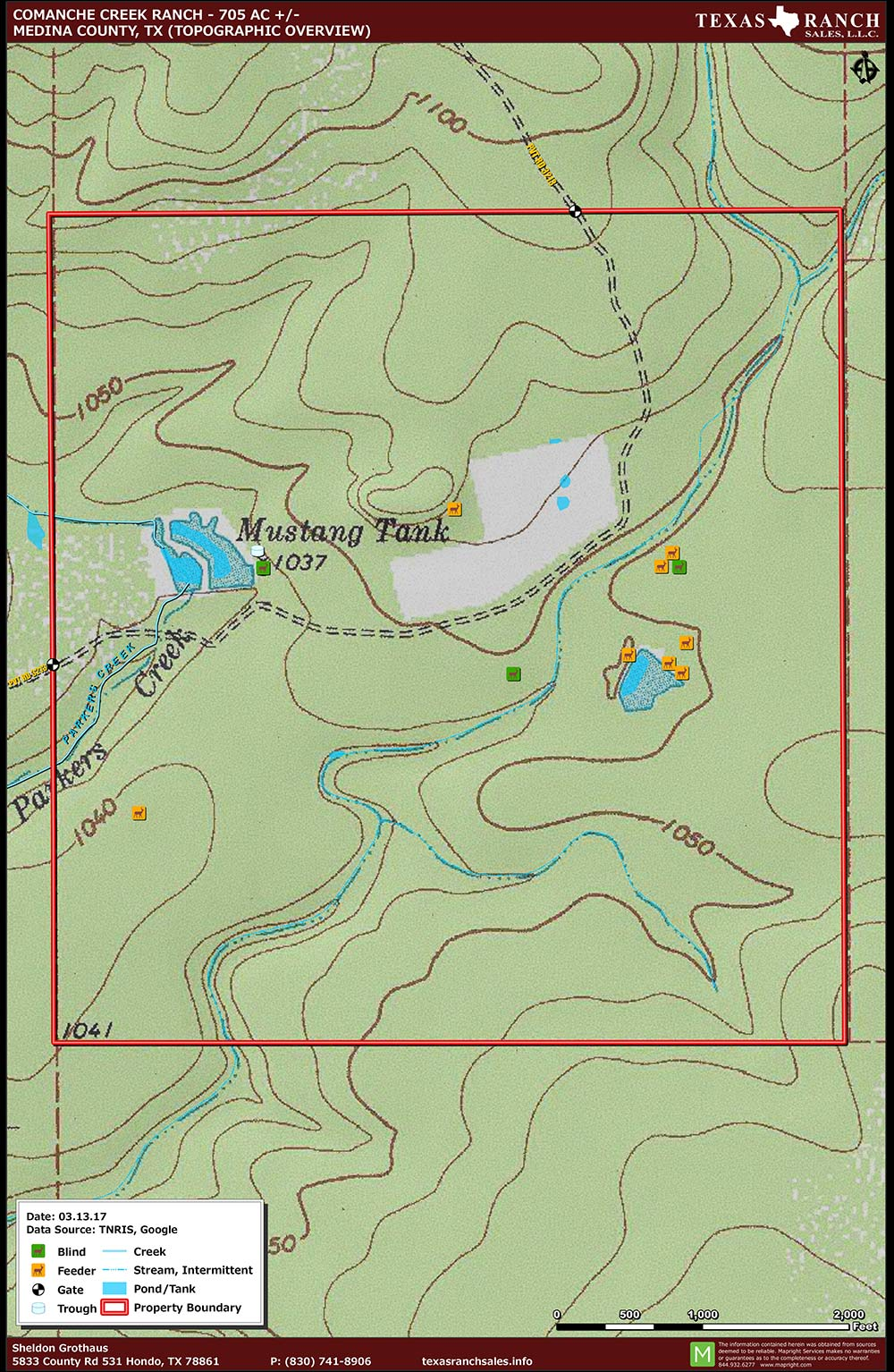 705 Acre Ranch Medina Topography Map