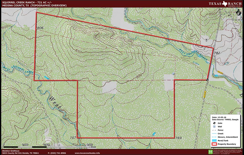 721 Acre Ranch Medina Topography Map