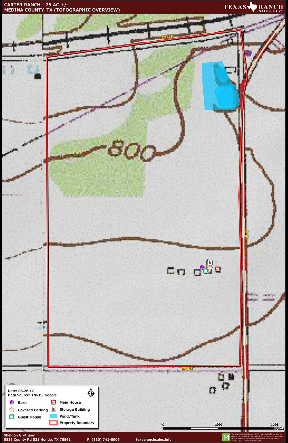 75 Acre Ranch Medina Topography Map