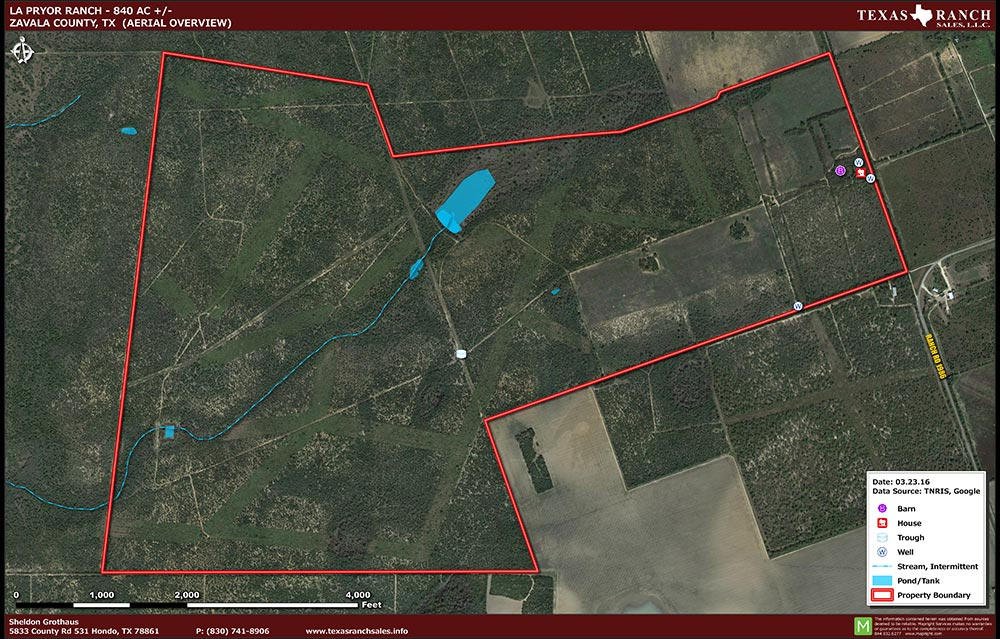 840 Acre Ranch Zavala Aerial Map