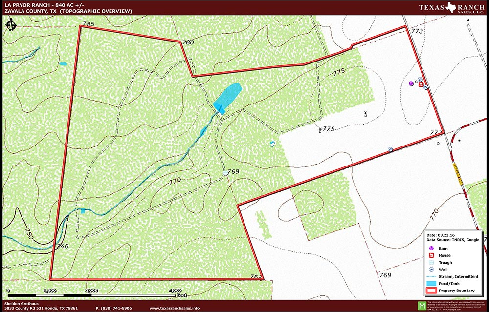 840 Acre Ranch Zavala Topography Map